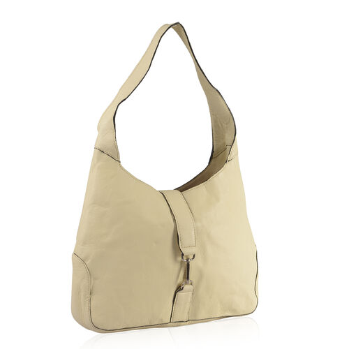 100% Genuine Leather RFID Cream Colour Hobo Bag (Size 38X24X8 Cm)