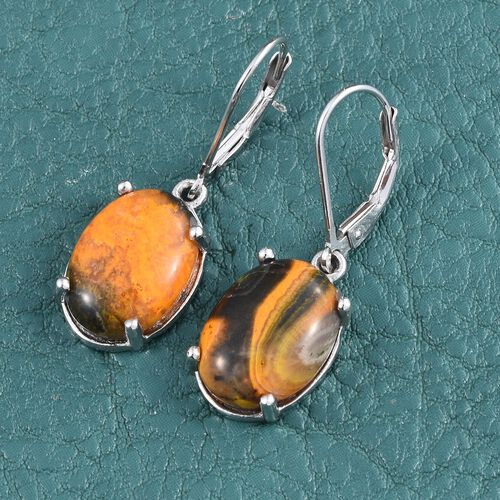 Bumble Bee Jasper (Ovl) Lever Back Earrings in Platinum Overlay Sterling Silver 10.250 Ct.