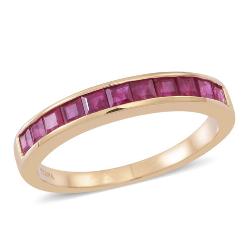 ILIANA 18K Y Gold AAA Burmese Ruby (Sqr) Half Eternity Band Ring 1.250 Ct.