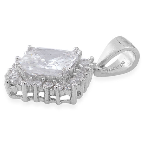 ELANZA AAA Simulated White Diamond (Sqr) Pendant in Rhodium Plated Sterling Silver