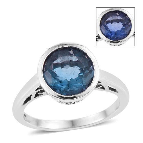 Colour Change Fluorite (Rnd) Solitaire Ring in Platinum Overlay Sterling Silver 4.000 Ct.