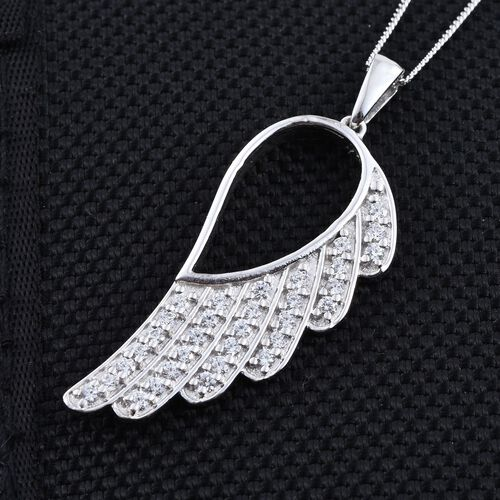 J Francis - Platinum Overlay Sterling Silver (Rnd) Feather Pendant With Chain Made with SWAROVSKI ZIRCONIA
