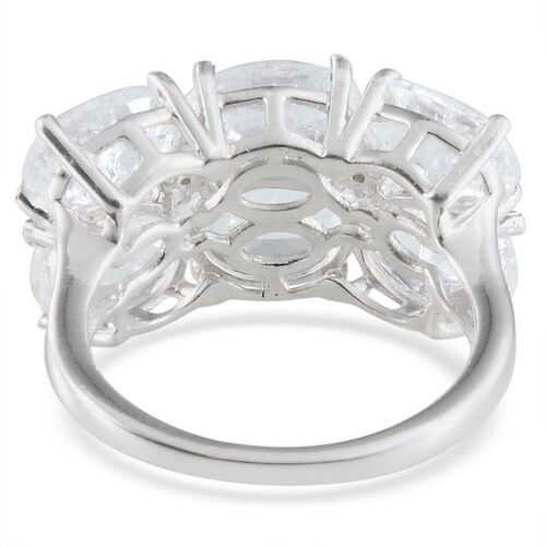 White Crackled Quartz (Ovl), Diamond Ring in Platinum Overlay Sterling Silver 8.430 Ct.
