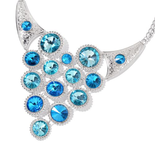 Designer Inspired - Simulated Blue Diamond BIB Necklace (Size 22 with 2 inch Extender) in Silver Tone