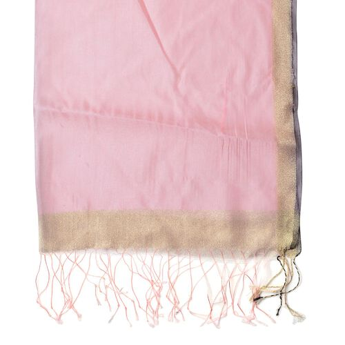 Pink Colour Scarf with Golden Strings and Fringes at the Bottom (Size 180x65 Cm)
