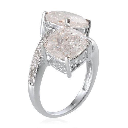 White Crackled Quartz (Cush), White Topaz Crossover Ring in Platinum Overlay Sterling Silver 11.400 Ct.