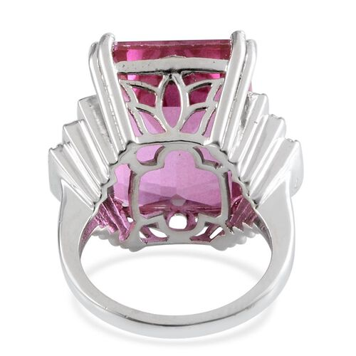 Kunzite Colour Quartz (Oct 25.00 Ct), White Topaz Ring in Platinum Overlay Sterling Silver 25.500 Ct.