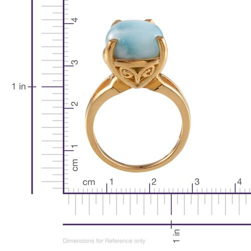 Larimar (Pear) Solitaire Ring in 14K Gold Overlay Sterling Silver 8.250 Ct.