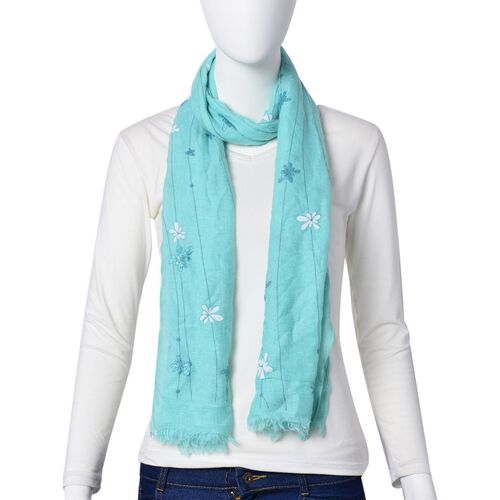 Designer Inspired- Fire Work Pattern Turquoise Colour Scarf (Size 180x70 Cm)