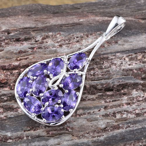 AAA Simulated Tanzanite (Ovl) Pendant in Sterling Silver