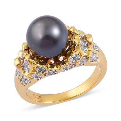 RareTahitian Pearl (Size10-11mm) and White Zircon Ring in Yellow Gold Overlay Sterling Silver