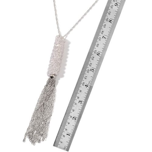 White Austrian Crystal Necklace (Size 30 with 2 inch Extender) in Silver Tone