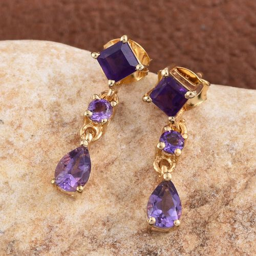Amethyst (Sqr), Lusaka Amethyst Earrings (with Push Back) in 14K Gold Overlay Sterling Silver 1.750 Ct.