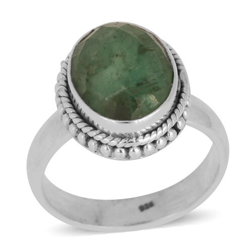 Jewels of India Kagem Zambian Emerald (Ovl) Solitaire Ring in Sterling Silver 2.730 Ct.