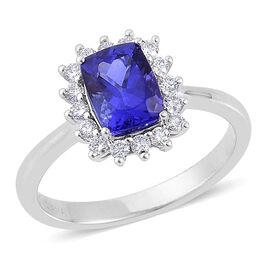 ILIANA 18K White Gold 2.25 Carat AAA Tanzanite CushionHalo Ring, Diamond SI G-H.