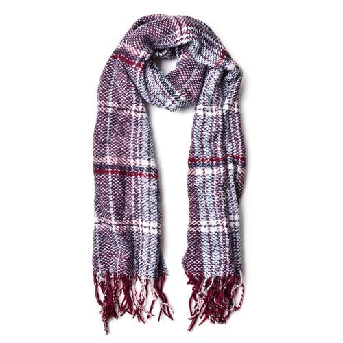 Black, White and Red Colour Checks Pattern Scarf with Tassels (Size 180X60 Cm)