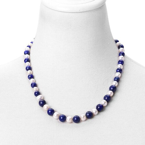Limited Edition One Of a Kind- Lapis Lazuli and Fresh Water White Pearl Bead Necklace (Size 20 with 2 inch Extender) 235.000 Ct.