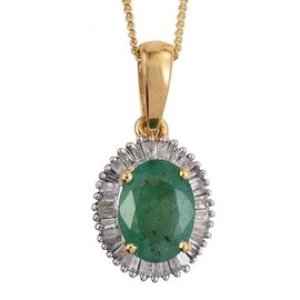 Kagem Zambian Emerald (Ovl 1.00 Ct), Diamond Pendant With Chain in 14K Gold Overlay Sterling Silver 1.250 Ct.