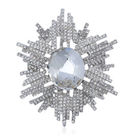 White Glass and Austrian Crystal Starburst Brooch Or Pendant in Silver Tone