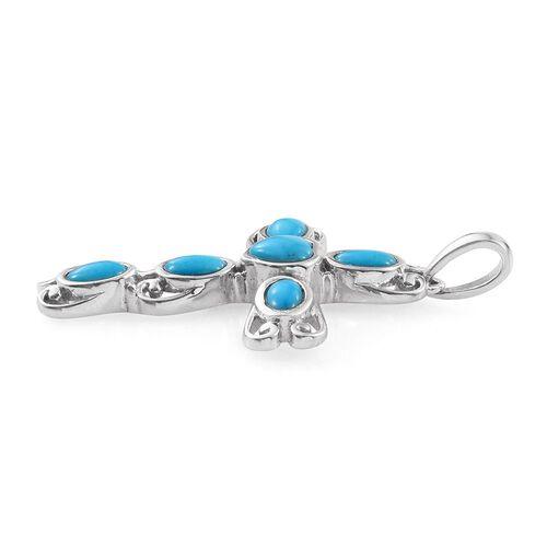 Arizona Sleeping Beauty Turquoise (Hrt 0.60 Ct) Cross Pendant in Platinum Overlay Sterling Silver 1.750 Ct.