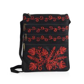 Red Colour Flowers Cashmere Hand  Embroidered Bag with External Zipper Pocket and Shoulder Strap (25x21 Cm)