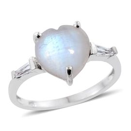 Rainbow Moonstone (Hrt 5.20 Ct), White Topaz Ring in Platinum Overlay Sterling Silver 5.500 Ct.