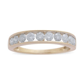 9K Y Gold SGL Certified Diamond (Rnd) (I3/ G-H) Half Eternity Band Ring 1.000 Ct.