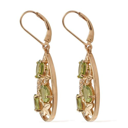 AA Hebei Peridot (Ovl) Lever Back Earrings in 14K Gold Overlay Sterling Silver 5.000 Ct.