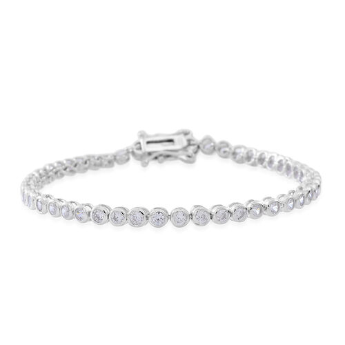 ELANZA AAA Diamond Cut Simulated White Diamond (Rnd) Tennis Bracelet (Size 7) in Rhodium Plated Sterling Silver.  wt 6.5 grams