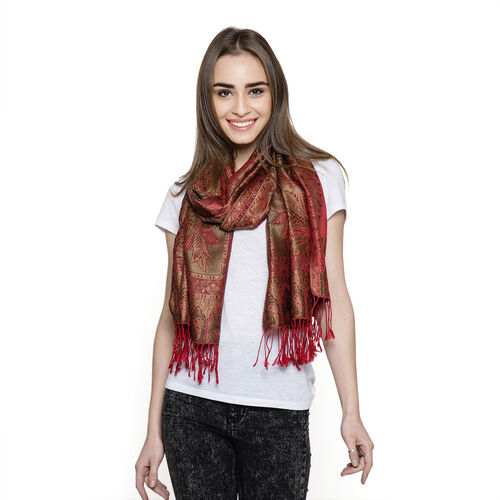SILK MARK - 100% Superfine Silk Red and Multi Colour Jacquard Jamawar Scarf with Fringes at the Bottom (Size 180x70 Cm)