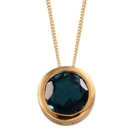 Indicolite Quartz (Rnd) Solitaire Pendant With Chain in 14K Gold Overlay Sterling Silver 3.500 Ct.