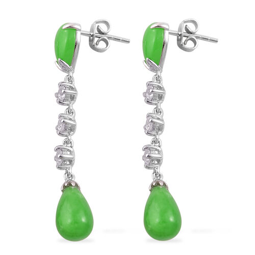 Green Jade and White Zircon Earrings (with Push Back) in Platinum Overlay Sterling Silver 13.900 Ct.