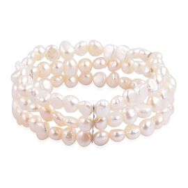 Fresh Water White Pearl Multi Strand Stretchable Bracelet (Size 7.5) in Stainless Steel