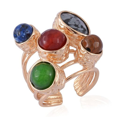 Snow Flake Obsidian, Sodalite, Tigers Eye, Red Quartzite and Green Quartzite Ring in Gold Tone 50.000 Ct.