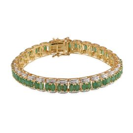 Kagem Zambian Emerald (Ovl), Diamond Bracelet (Size 7.5) in 14K Gold Overlay Sterling Silver 12.010 Ct.