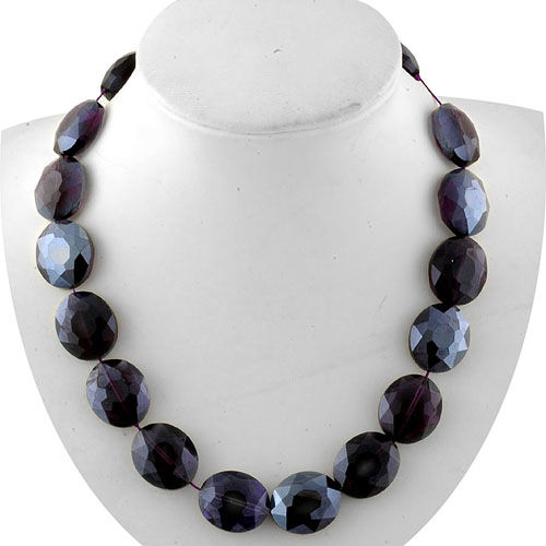 Purple Glass Necklace (Size 18) in Stainless Steel