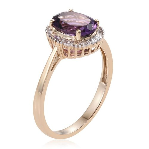 9K Y Gold Zambian Amethyst (Ovl 2.75 Ct), Diamond Ring 3.000 Ct.