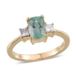 ILIANA 18K Y Gold Mozambique Paraiba Tourmaline (Cush 1.25 Ct), Diamond Ring 1.500 Ct.