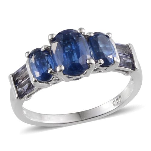 Himalayan Kyanite (Ovl 1.50 Ct), Iolite Ring in Platinum Overlay Sterling Silver 3.250 Ct.
