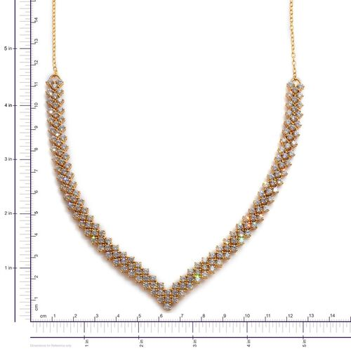J Francis - 14K Gold Overlay Sterling Silver (Rnd) Necklace (Size 18) Made with SWAROVSKI ZIRCONIA 17.710 Ct.