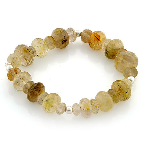 Aurelia Rutilated Quartz (Rnd) Bracelet in Sterling Silver (Size 7.5) 92.400 Ct.