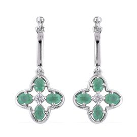 Kagem Zambian Emerald (Ovl), Natural Cambodian Zircon Earrings (with Push Back) in Platinum Overlay Sterling Silver 1.500 Ct.