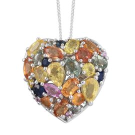 Orange Sapphire (Ovl), Yellow Sapphire, Green Sapphire, Kanchanaburi Blue Sapphire and Multi Gemstone Heart Pendant With Chain (Size 30) in Platinum Overlay Sterling Silver 5.00 Ct.