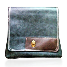 Faux Leather Olive Colour Shoulder Bag with Chocolate Colour Strap (Size 23x21 Cm)