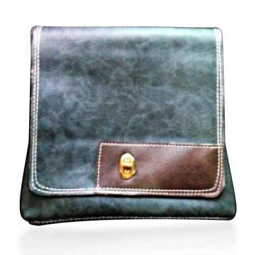 Faux Leather Olive Colour Shoulder Bag with Chocolate Colour Strap (Size 23x21 Cm)