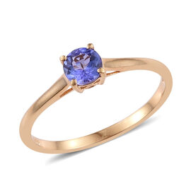Tanzanite (Rnd) Solitaire Ring in 14K Gold Overlay Sterling Silver 0.500 Ct.