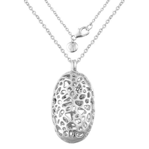 RACHEL GALLEY Sterling Silver Charmed Pebble Locket Necklace (Size 30), Silver wt 27.88 Gms.