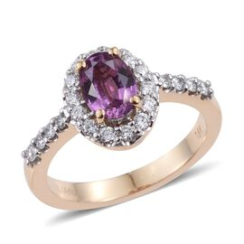 ILIANA 18K Y Gold Pink Sapphire (Ovl 1.20 Ct), Diamond Ring 1.750 Ct.