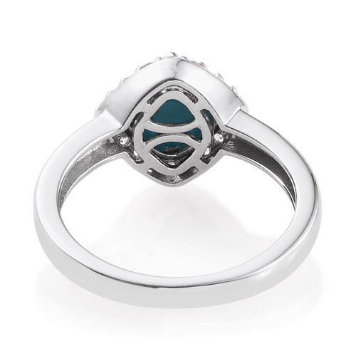 Arizona Sleeping Beauty Turquoise (Cush 1.15 Ct), Natural Cambodian Zircon Ring in Platinum Overlay Sterling Silver 1.500 Ct.