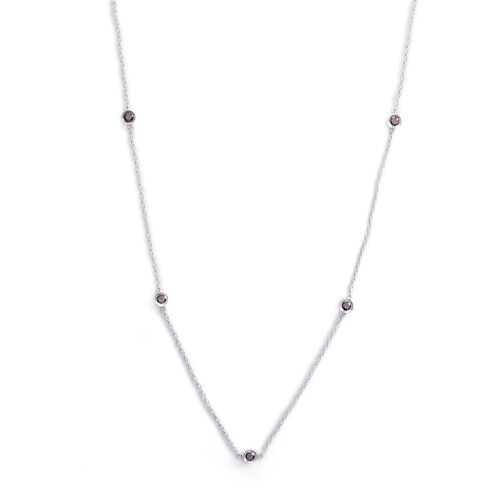 Red Diamond (Rnd) Station Necklace (Size 36) in Sterling Silver 1.500 Ct.
